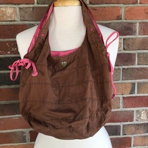 Brown bag with pink lining